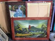 Sale 8767 - Lot 2098 - Set of 7 Timber Framed Oriental Artworks
