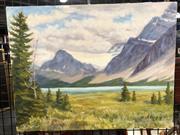 Sale 8784 - Lot 2062 - John Ryning - New Zealand Alpine Landscape, oil on canvas, SLR 36x46cm -