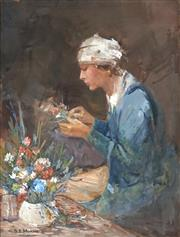 Sale 8838 - Lot 540 - Benjamin Minns (1864 - 1937) - Arranging Flowers 35 x 28cm