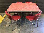Sale 9002 - Lot 1033 - Vintage Chrome Based Dining table with Formica Top and 4 Matched Chairs (h:77 x L;122 x :76cm)