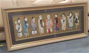Sale 9034 - Lot 1031 - Chinese Gilt Framed Nine Immortals (H: 71 x W: 158 cm)