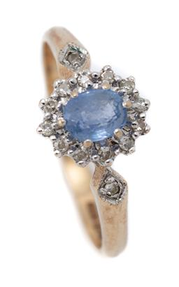 Sale 9107J - Lot 307 - A SAPPHIRE AND DIAMOND CLUSTER RING; centring an oval cut light blue sapphire of approx. 0.50ct to surround and shoulders set with 1...