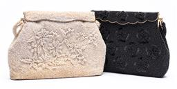 Sale 9170H - Lot 82 - Two bead embellished clutch bags,  the black one with matching coin/glasses purse inside.