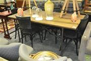 Sale 8440 - Lot 1034 - Reclaimed Oak Top Dining Table, on Wheels with Industrial Style Geometrical Steel Base - Castors are lockable (H 78 x L 180 x W 90cm)