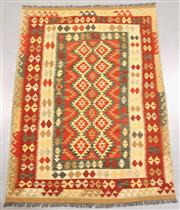 Sale 8438K - Lot 41 - Summer Afghan Tribal Kilim Rug | 248x180cm, Pure Wool, Finely handwoven in Northern Afghanistan using high quality local wool. Vibra...