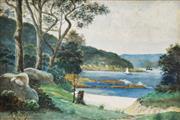 Sale 8675A - Lot 5036 - Robert Riches (1860 - 1918) - Little Sirius Cove, Mosman c1900 24 x 37cm