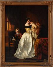 Sale 8804A - Lot 94 - Casimir Van Den Daele (1818 - 1880) - Domestic Scene 63cm x 47cm