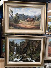 Sale 8797 - Lot 2031 - (2 works): James Holmyard House at Windsor Creek oil on canvas board, 56 x 78cm (frame), signed; John Atherton Australian Bush Sc...