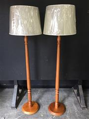 Sale 9034 - Lot 1066 - Pair of Timber Floor Lamps - 5480