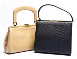Sale 9170H - Lot 83 - A navy ostrich skin bag together with a lizard skin example