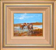 Sale 8316 - Lot 528 - Hugh Sawrey (1919 - 1999) - Mooraberrie Pack Horses Crossing the Diamantina - The Channel Country, W.Qld 23.5 x 28.5cm