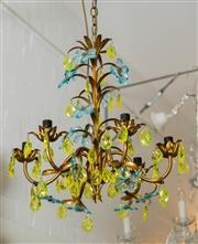 Sale 8420A - Lot 31 - A rare antique gold leaf gilded six light tole chandelier featuring citrine & blue topaz crystal flowers & citrine crystal tear drop...