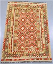 Sale 8438K - Lot 42 - Summer Afghan Tribal Kilim Rug | 257x173cm, Pure Wool, Finely handwoven in Northern Afghanistan using high quality local wool. Vibra...