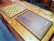 Sale 8672 - Lot 1037 - Timber Chess Board Together with Timber Serving Tray