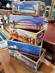 Sale 8834 - Lot 1023 - Set of 5 Graduated Decoupage Sydney Harbour Boxes