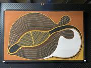 Sale 9061 - Lot 2056 - Alan K, Stingray, ochre on canvas, 64 x 100 cm, stamped verso