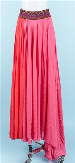 Sale 9091F - Lot 15 - A TENAX LONG PLEATED MAXI SKIRT; in pink with colourful band, Size M