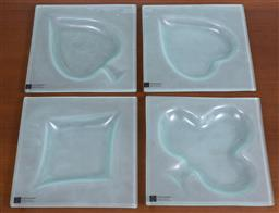 Sale 9140H - Lot 60 - A set of Susie Barns frosted glass playing cards suit nut dishes, 18cm x 18cm