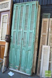Sale 8390 - Lot 1383 - Pair of Large Timber Framed Door Frame with Glass & Shutters (264 x 98cm)