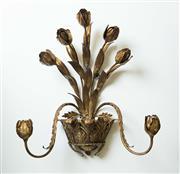 Sale 8420A - Lot 41 - A vintage Italian gilded tulip tôleware wall candelabra, featuring tulip & basket design, measurements: 56cm high x 47cm wide