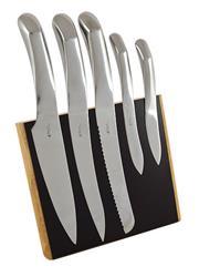 Sale 8705A - Lot 25 - Laguiole Louis Thiers Organique 5-Piece Kitchen Knife Set with Timber Magnetic Block