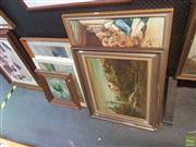 Sale 8595 - Lot 2078 - Group of Original Paintings and mostly Decorative Prints, including Norman Robbins Landscape, oil on board; Tom Roberts, Shearing th...