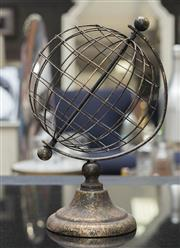 Sale 8709 - Lot 1072 - A wire form globe on circular base, H x 35cm approx