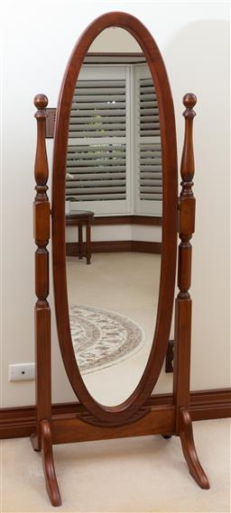 Sale 9155H - Lot 84 - A carved elongated Cheval mirror. Height 173cm x width 61cm x Depth 56cm