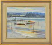 Sale 8323A - Lot 44 - Laurence D. Kermond (1918 - 1994) - Down at Wally White's, Merimbula, 1972 39 x 50cm