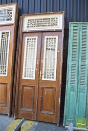 Sale 8390 - Lot 1385 - Pair of Large Timber Framed Entrance Doors (284 x 118cm)