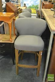 Sale 8440 - Lot 1050 - Set of Six Curved Button Back Barstools in Blue / Grey Linen Blend & Brushed Oak Legs (H 108 x W 59 x D 69cm)