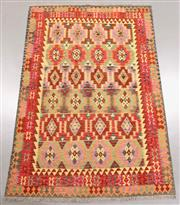 Sale 8438K - Lot 44 - Summer Afghan Tribal Kilim Rug | 287x194cm, Pure Wool, Finely handwoven in Northern Afghanistan using high quality local wool. Vibra...
