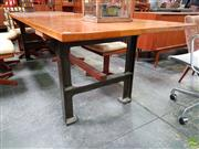 Sale 8625 - Lot 1011 - Industrial Based Dining Table with Kauri Pine (H: 76 L: 277 W: 90cm)