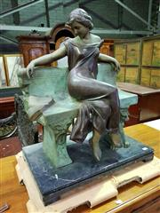 Sale 8653 - Lot 1099 - Bronze Figure Una Letter dAmore, of a young lady seated with a letter to her father, on a black marble base