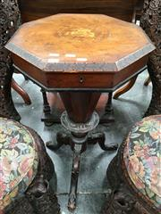 Sale 8666 - Lot 1005 - Victorian Walnut & Marquetry Sewing Table, with hinged octagonal top (loose) inlaid with scene of knight defeating a dragon & fitted...