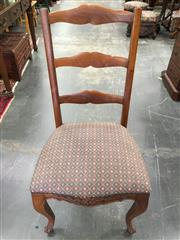 Sale 8666 - Lot 1047 - Set of Four French Style Ladder Back Dining Chairs, with diaper fabric & cabriole legs