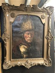 Sale 8789 - Lot 2075 - Artist Unknown - Soldier (after Rembrandt), oil on canvas 90 x 70cm (frame), unsigned