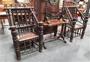 Sale 8848 - Lot 1001 - Pair of Elizabethan Style Turned or Thrown Oak Armchairs, fully constructed from turned elements with plank seat and stretchers