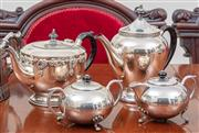 Sale 8908H - Lot 97 - A group of five silver plated tea and coffee wares. Height of tallest 23cm