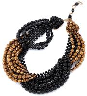 Sale 9095 - Lot 390 - A VINTAGE ITALIAN COPPOLA E TOPPO FRENCH JET AND GOLD GLASS BEAD NECKLACE; cascading swags of faceted black and gold tone glass bead...