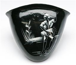 Sale 9173 - Lot 53 - A ceramic wall mount pocket depicting female - signed (L:15cm)