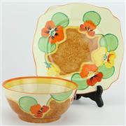 Sale 8356 - Lot 15 - Clarice Cliff Bizarre Nasturtium Bowl & Under Dish