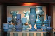 Sale 8340 - Lot 89 - Victorian Blue Glass Vases