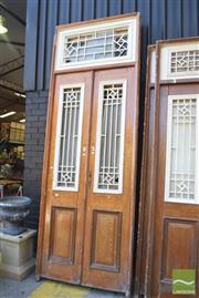 Sale 8390 - Lot 1386 - Pair of Large Timber Framed Entrance Doors (335 x 116cm)