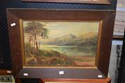 Sale 8419T - Lot 2064 - Artist Unknown - River Scene with Distant View of Mountains, oil on canvas, 29 x 45cm, unsigned af