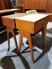 Sale 8765 - Lot 1053 - Two Vintage Bedsides with Veneered Tops