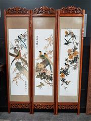 Sale 8777 - Lot 1006 - Chinese Three Panel Dressing Screen Depicting Birds