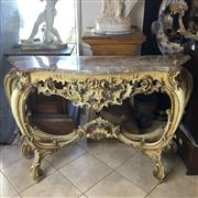 Sale 8795K - Lot 2 - A marble top console table with cabriole legs and gilt finish in a shabby chic style