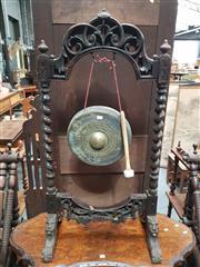 Sale 8848 - Lot 1002 - Antique Carved Oak & Brass Gong, suspended on barley twist stand & lion feet