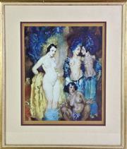 Sale 8905S - Lot 645 - NORMAN LINDSAY (1879 - 1969) - Four Nudes, 1937 frame size 46 x 54cm